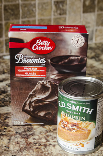 These two ingredient pumpkin brownies will hit all those pumpkin spice and chocolate cravings in one bite!! !Here's a pic of the ingredients!